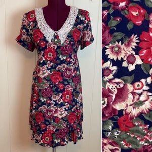 Vintage 80s 90s Boho Grunge Lace Collar Dress